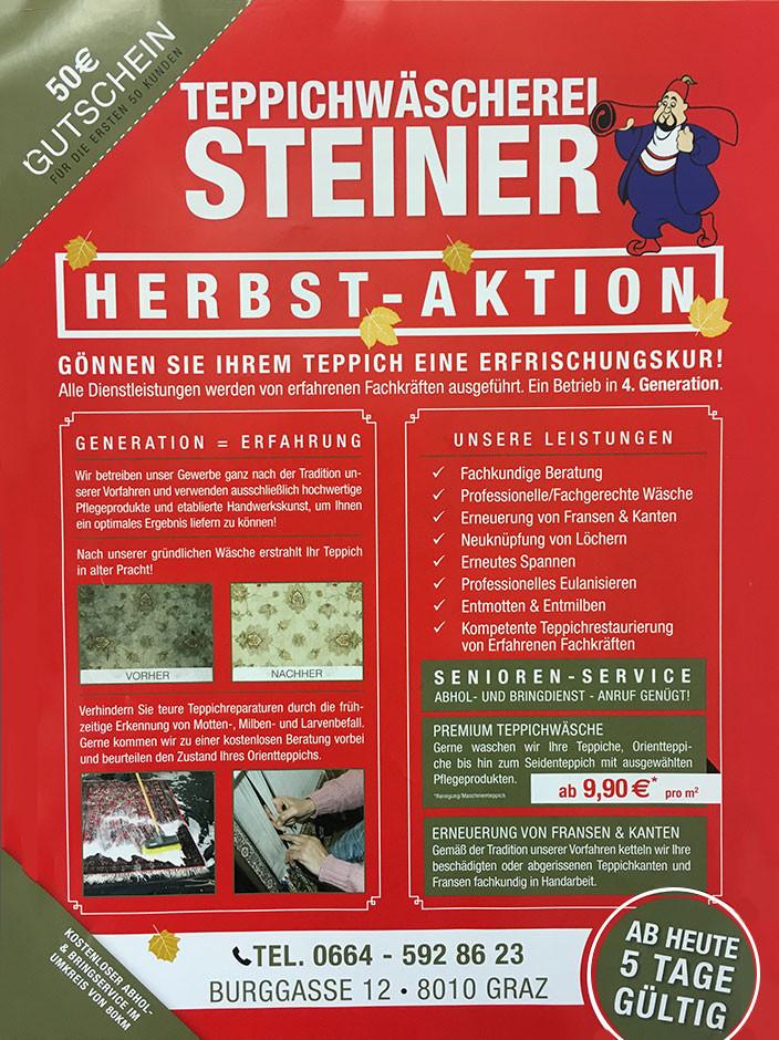 Flyer von Teppichwäscherei Steiner © -, AK Stmk