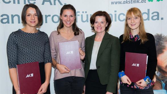 Im Festsaal der AK wurden die Preisträgerinnen und Preisträger ausgezeichnet.  © Unterkofler, AK Stmk