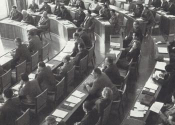 Nach der Arbeiterkammerwahl am 11. und 12. Oktober fand die konstituierende Vollversammlung vier Wochen später, am 10. November 1959, statt © Nach der Arbeiterkammerwahl am 11. und 12. Oktober fand die konstituierende Vollversammlung vier Wochen später, am 10. November 1959, statt, AK Stmk