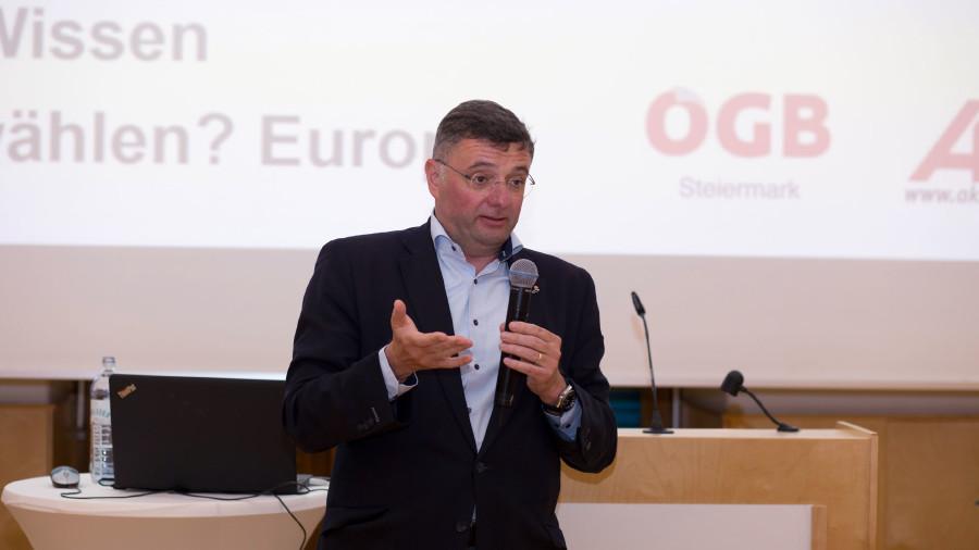 Jörg Leichtfried erzählte über seine Zeit im EU-Parlament. © Temel, AK Stmk