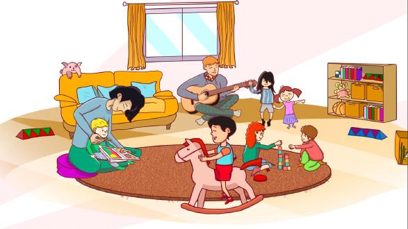 In der Krabbelstube können die Kinder währen der VHS-Kurse spielen. © -, AK Stmk