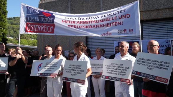 AUVA-Betriebsversammlung vor dem UKH in Graz. © -, AK Stmk