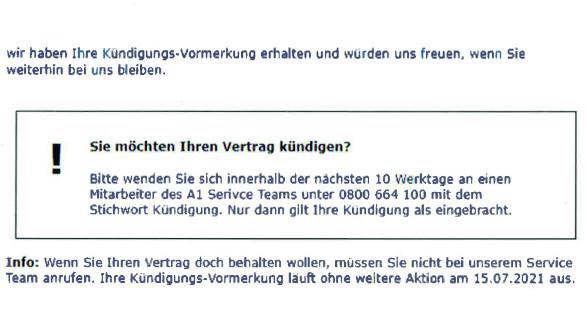 """Die """"Kündigungs-Vormerkung"""", die Mobilfunkanbieter A1 an kündigungswillige Kundinnen und Kunden sendet. © -, AK Stmk"""