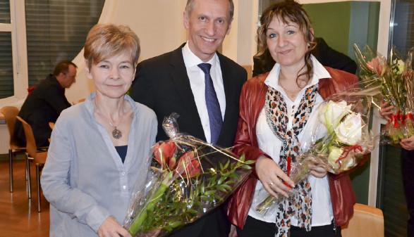 Präsident mit zwei Gästen © Taus, AK