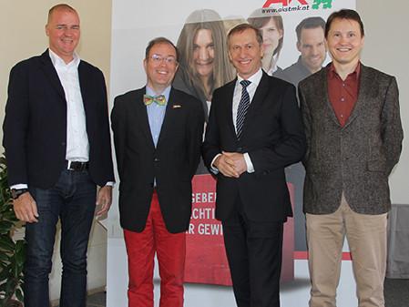 S-Bahn-Diskussion in Leoben mit AK-Vize Gernot Acko, Hans-Georg Frantz, AK-Präsident Josef Pesserl und Bernhard Breid. © Claudia Dicker, AK Stmk