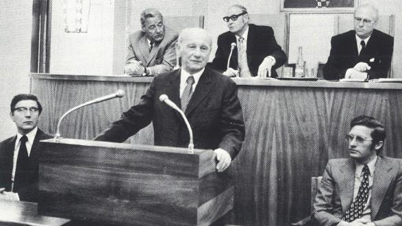 Antrittsrede des ehemaligen Kammerpräsident Franz Ileschitz in der Vollversammlung 1975. © Stmk. Landesbibliothek, Kapselsammlung, Nr. 26, zit. n. Uhl, 1991, AK Stmk