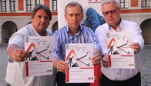 Josef Muchitsch (Bundesvorsitzender Gewerkschaft Bau-Holz), Josef Pesserl (AK-Präsident), Horst Schachner (ÖGB-Landesvorsitzender) © AK Stmk, AK Stmk
