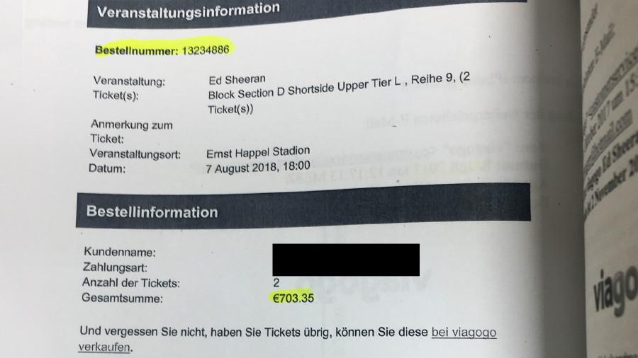 Für zwei Ed Sheeran Karten um je 58,70 Euro zahlte eine Frau auf Viagogo insgesamt 703,35 Euro. © -, AK Stmk