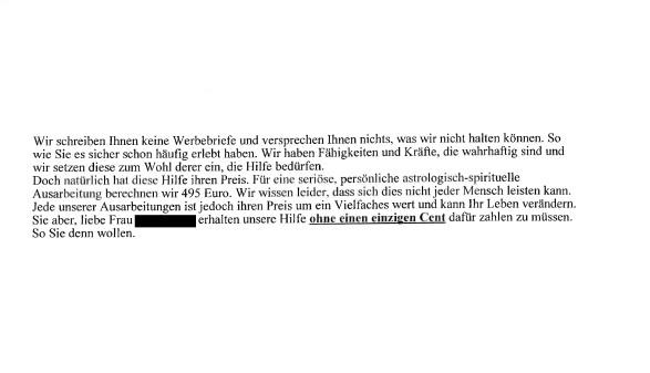 """Faksimile des """"heilsamen"""" Schreibens von """"Carta Prophetica"""" an die Weizerin. © AK Stmk, AK Stmk"""