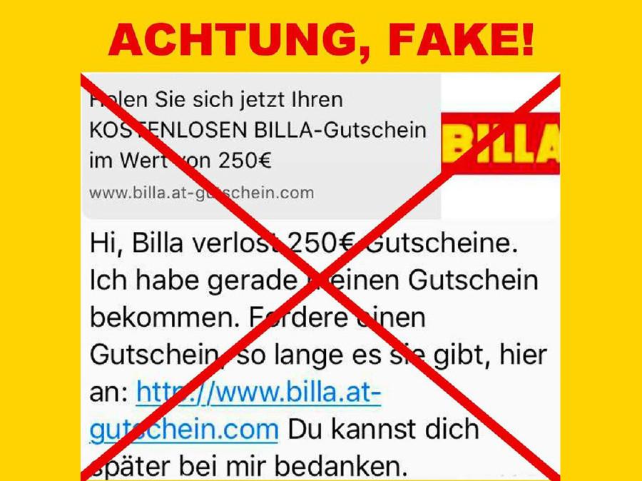 Warnung von Billa auf Facebook. © Billa, Billa