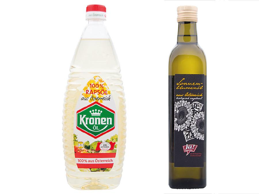 Die beiden Testsieger: Kronen Öl und Ja! Natürlich © VKI, VKI