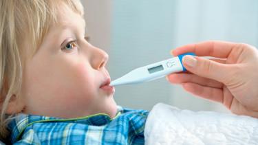 Ein kleines Kind liegt im Bett, man sieht die Hand einer Erwachsenen, welche dem Kind ein Fieberthermometer in den Mund steckt. © Alexander Raths, stock.adobe.com