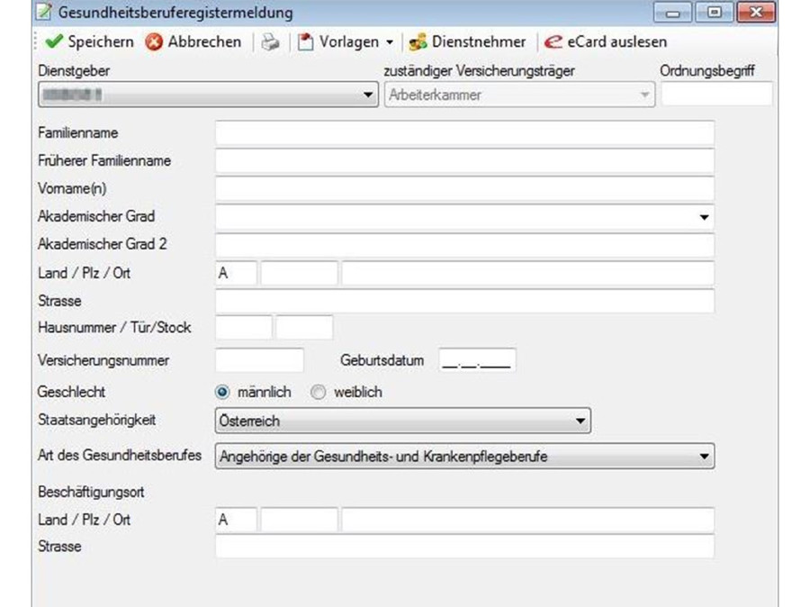Erfassungsformular über den ELDA-Software-Client © -, AK Stmk