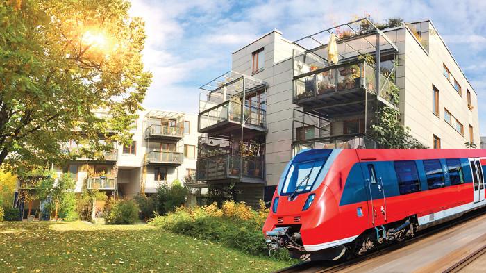 Wie wirkt sich eine gut ausgebaute öffentliche Verkehrsinfrastruktur auf die Immobilienmärkte aus? © Scanrail - stock.adobe.com, ah_fotobox - stock.adobe.com (Montage), AK Stmk