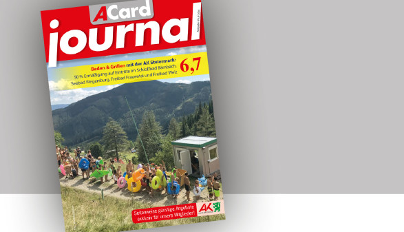 Vergünstigungen und Rabatte im Juli 2018 im ACard-Journal. © -, AK Stmk