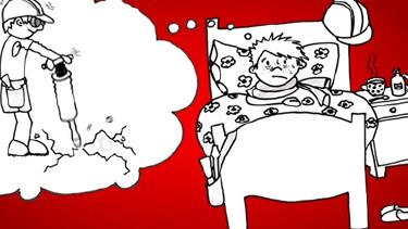 Comic: Ein Mann liegt Krank im Bett © News on Video, News on Video