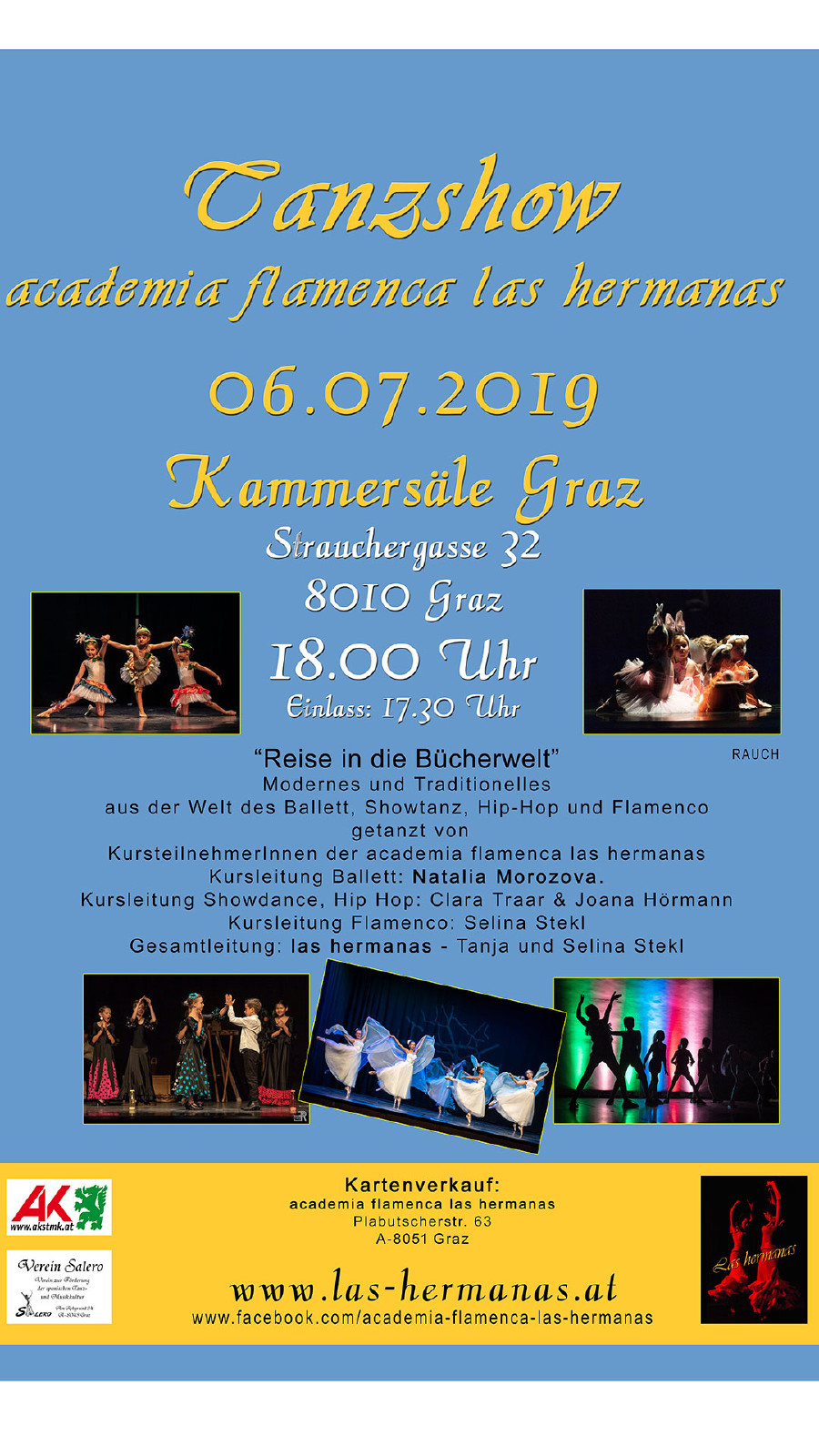Abschluss-Show am 6. Juli ab 18 Uhr in den Kammersälen in Graz. © academia flamenca las hermanas, AK Stmk