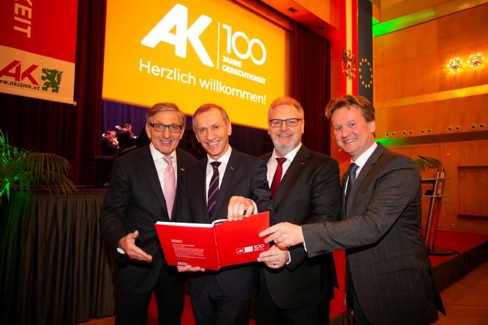 Sozialpartner feierten gemeinsam 100 Jahre AK: WK-Präsident Josef Herk, AK-Präsident Josef Pesserl, ÖGB-Vorsitzender Horst Schachner und IV-Präsident Georg Knill (v. l.). © Eder, AK Stmk