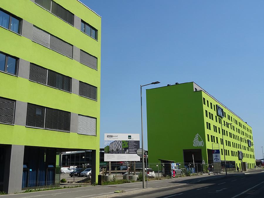 Zwischen A&O Hotel und Studentenheim soll das neue VHS Gebäude errichtet werden. © AK Stmk, AK Stmk
